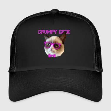 Cute Grumpy Geek Cat Gift - Trucker Cap