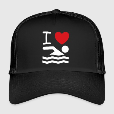 I love swim saying gift idea - Trucker Cap