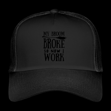 Halloween. Witch. Broom. Witches' broom. Job. autumn - Trucker Cap