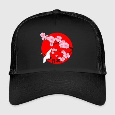 Japan cherry blossoms crane Japanfan Japan travel - Trucker Cap