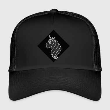 Unicorn outline on black rhombus - Trucker Cap