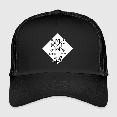 ♠ ♠ Mischief Cult Logo Design ♠ ♠ Vapaa White - Trucker Cap