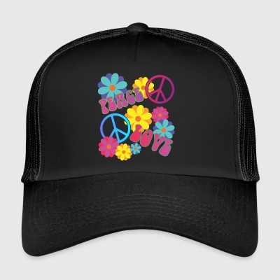 love peace hippie flower power - Trucker Cap