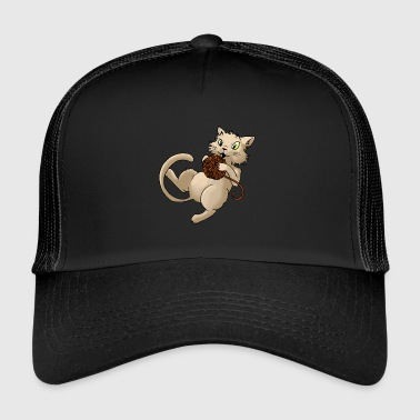 Cat ull boll av ull Kitty Animal Husdjur - Trucker Cap
