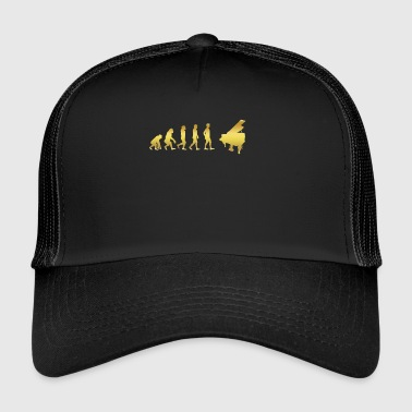 evolution human ekg heartbeat piano piano - Trucker Cap