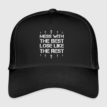 Mess with best loose king queen skull two face rock - Trucker Cap