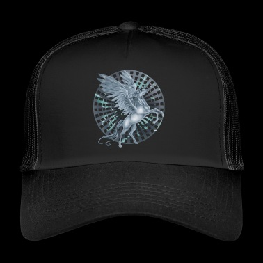 Pegasus met Wheel background - Trucker Cap