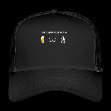 simple man like boobs beer beer tits soccer player - Trucker Cap