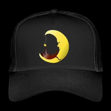Cat in the moon plays with star gift - Trucker Cap