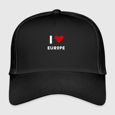 J'aime l'Europe coeur eu déclaration amour rouge fun Demo - Trucker Cap