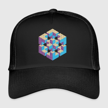 impossible figure Escher cube geometry fantasy - Trucker Cap