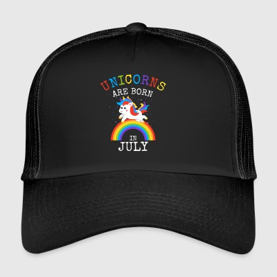 Unicorns worden geboren in juli Funny Birthday Party Kid - Trucker Cap