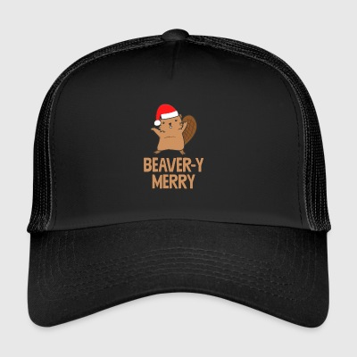 Beaver-y Merry Funny Beaver Christmas Holiday - Trucker Cap