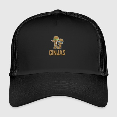 Ginjas Gingerbread Man Ninjas Candy Canes Swords - Trucker Cap