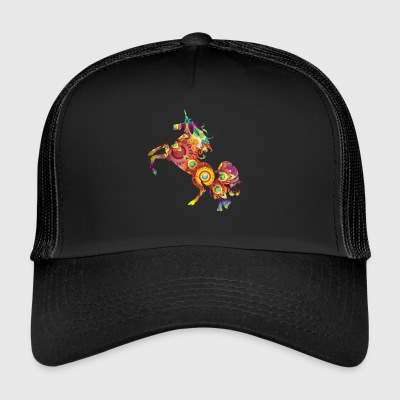 colorful flower colored jumping unicorn unicorn - Trucker Cap