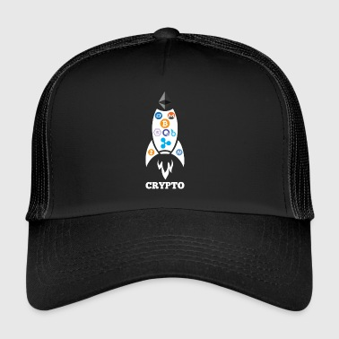 To The Moon Rocket Ship Cryptocurrency Blockchain - Trucker Cap
