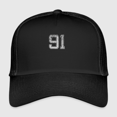 Number 91 Number ninety One Nine One Gift - Trucker Cap