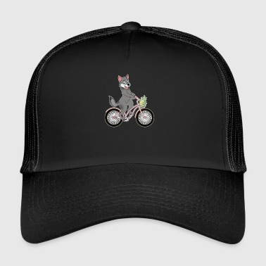 Wolf on bicycle wolf face girl pack kawaii - Trucker Cap