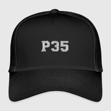 P35logoblackwhite no bottom - Trucker Cap