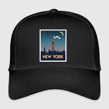 New York Empire Skyline At Night - Trucker Cap
