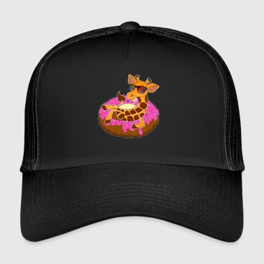 Giraffe on donut cool air mat kawaii summer - Trucker Cap