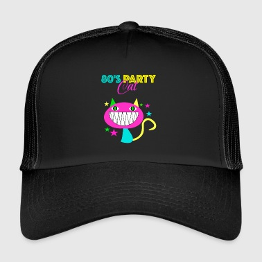 80s party cat 80s cat cadeau retro - Trucker Cap