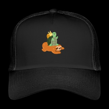 Funny turtle sloth snail - gift - Trucker Cap
