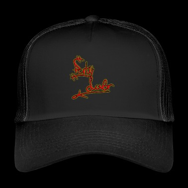 Party font in red and yellow - Trucker Cap