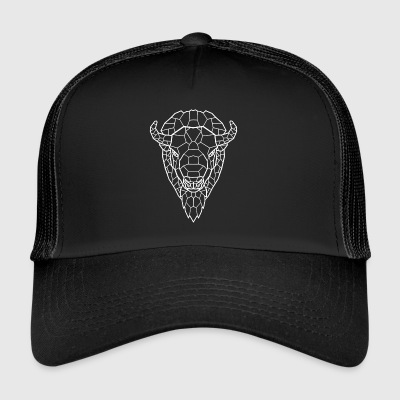 White Buffalo Line Art - Trucker Cap