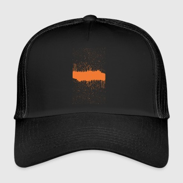 orange brush sketch - Trucker Cap