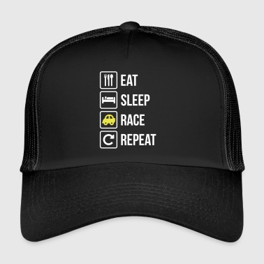 Eat Sleep Race Sport Répétition voiture - Trucker Cap