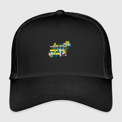 abstract full and empty rectangles - Trucker Cap
