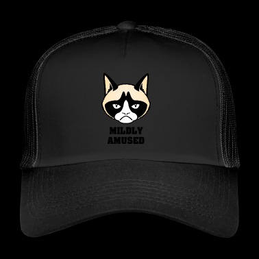 grumpy cat mildly amused black - Trucker Cap