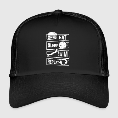 Eat Sleep Swim Repeat - Swimming Water Sports Pool - Trucker Cap