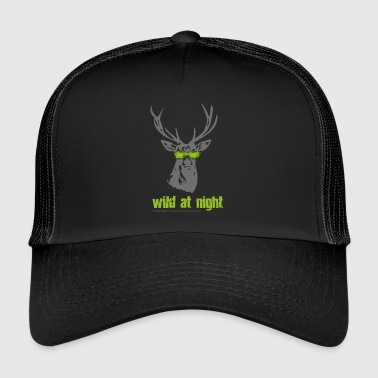 Deer with sunglasses wild at night - Trucker Cap