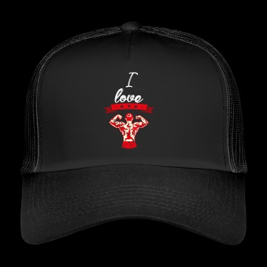 I love bodybuilding red gift I love - Trucker Cap
