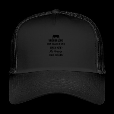 Which building does Dracula visit in New York? - Trucker Cap