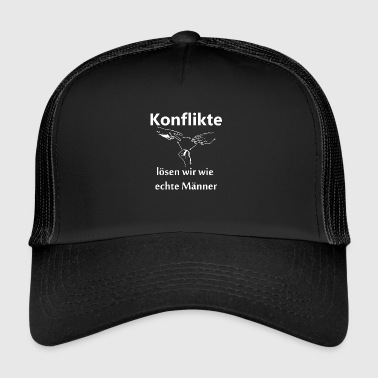 Conflicts we solve with scissors stone paper - Trucker Cap