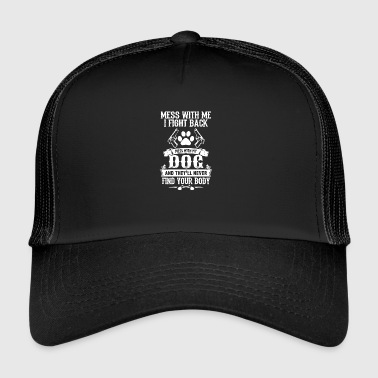 threat dog gun fighting dog growling dog owner - Trucker Cap