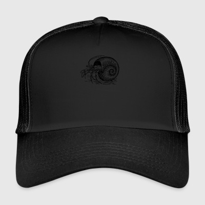 Crab black and withe with a Shell - Trucker Cap