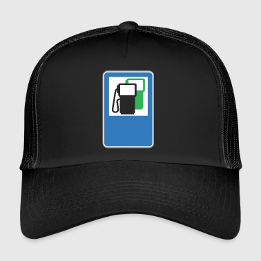 Road sign gas station green - Trucker Cap