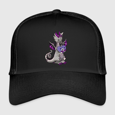Dragon with gingerbread heart mythical creature fairy tale - Trucker Cap