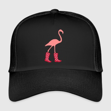 Flamingo with rubber boots - Trucker Cap