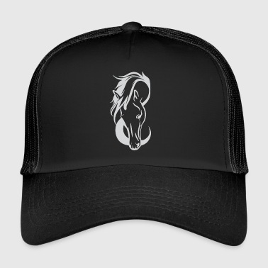 Horse Rider Love Illustration Testa di cavallo bianco - Trucker Cap
