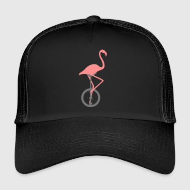 Flamingo on unicycle - Trucker Cap