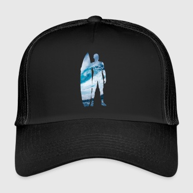Surfer silhouette with giant wave - Trucker Cap