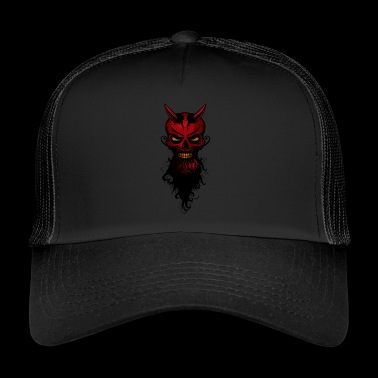 head of devil hipster lucifer skull crane ba - Trucker Cap