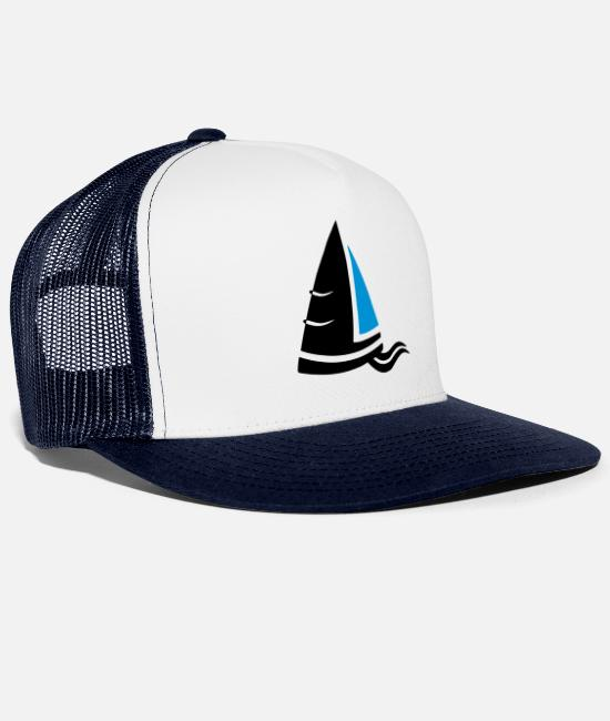 Sail Boat Caps & Hats - Sea air sailboat logo colored - Trucker Cap white/navy