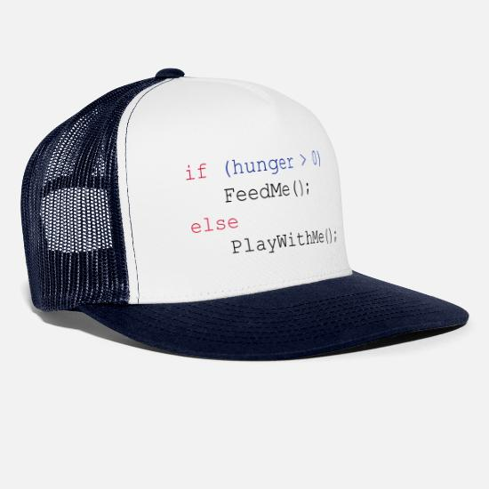 Geek Casquettes et bonnets - If hunger feed me else play with me - Casquette trucker blanc/marine