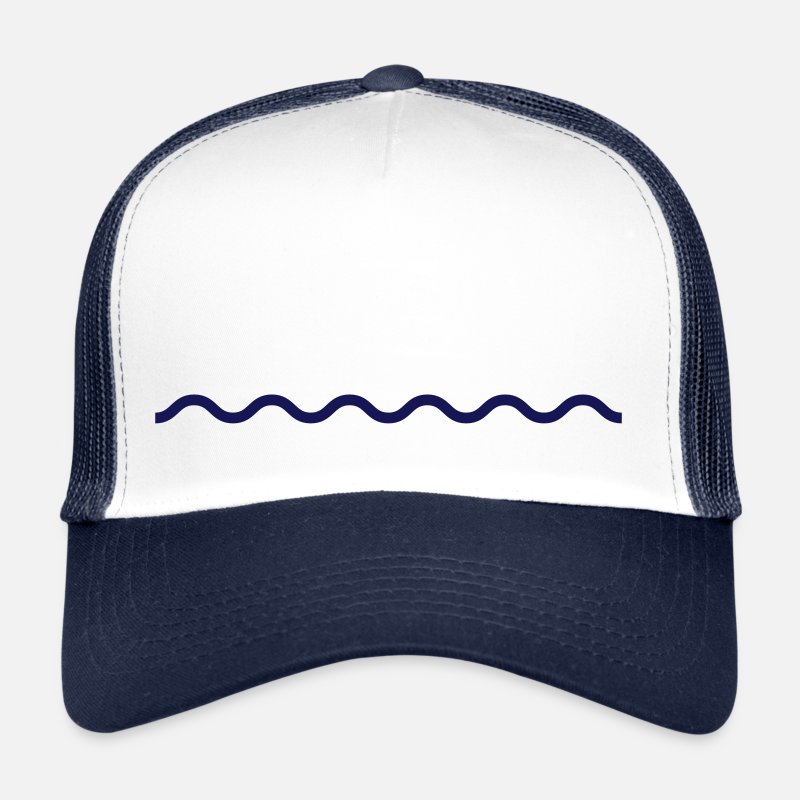 Waves Caps & Hats - Line waves wavy water port maritim - Trucker Cap white/navy